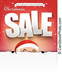 Merry christmas sale text with santa claus vector illustration eps10 004