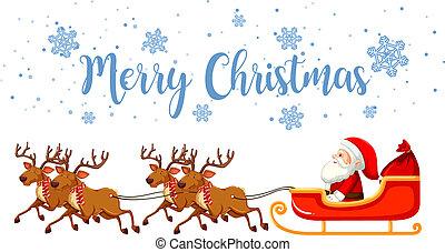 Merry christmas santa and reindeer