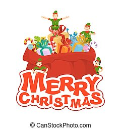 Merry Christmas. Santa bag with gift and elves. Big red sack for children presents. Elf in green clothes.