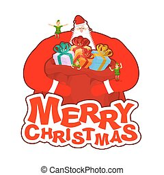 Merry Christmas. Santa Claus and bag and elf helper. New Year big red sack with gifts. Xmas template.