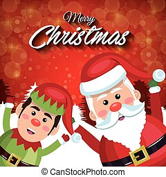 merry christmas santa claus elf happy red background
