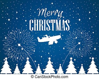 Merry Christmas. Santa Claus flies on an airplane. Winter...