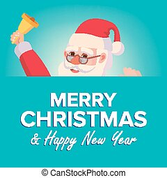 Merry Christmas Santa Claus Greeting Card Vector. Poster, Banner Design Template. Winter Modern Funny Illustration