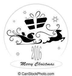 Merry Christmas, Santa Claus in a sleigh