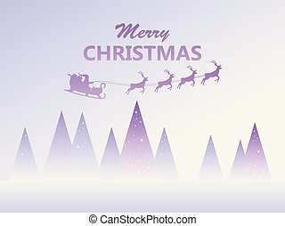 Merry Christmas. Santa Claus in a sleigh with reindeer flying. Winter landscape with fir trees. Vector illustration