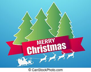 Merry Christmas. Santa Claus in a sleigh with reindeer. Paper cut style. Snowfall, Christmas trees on the background. Vector illustration