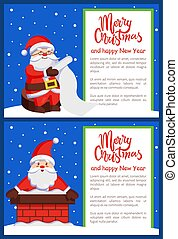 Merry Christmas Santa Claus in Chimney Read Scroll - Merry...