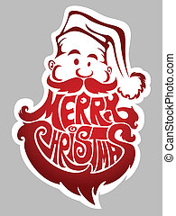 Merry Christmas. Santa Claus label