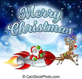 Merry Christmas Santa Claus Rocket Sleigh