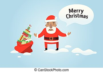 Merry Christmas. Santa Claus with a sack of gifts.