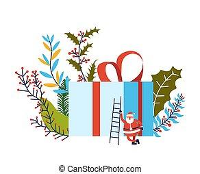 Merry Christmas, Santa Claus with big present box vector....