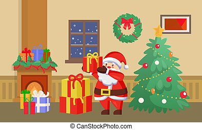 Merry Christmas Santa Claus with Presents Gifts