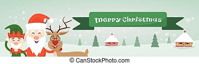 Merry Christmas Santa Clause Reindeer Elf Character Over...