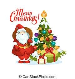 Merry Christmas Santa gifts tree vector icon