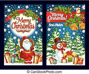 Merry Christmas Santa gifts vector greeting card