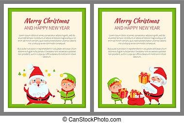 Merry Christmas Santa, Gifts Vector Illustration