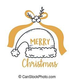 merry christmas santa hat gold bow decoration