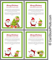 Merry Christmas Santa, Helper Vector Illustration - Merry...