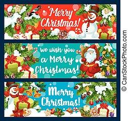 Merry Christmas Santa holiday gifts vector banners
