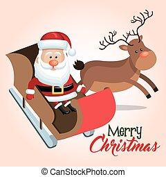 merry christmas santa reindeer sleigh