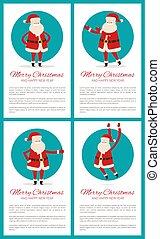 Merry Christmas Santa Set Vector Illustration