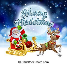 Merry Christmas Santa Sleigh Cartoon Graphic