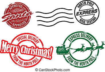 Vintage style stamps and postal mark from Santa at the North Pole