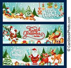 Merry Christmas santa vector greeting banners