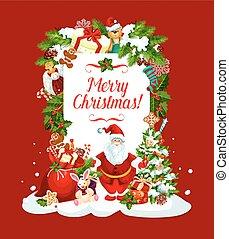 Merry Christmas Santa vector greeting card