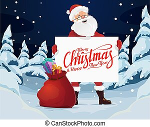 Merry Christmas, Santa with blank paper and gifts