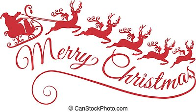 Merry Christmas, Santa with his sleigh and reindeers, vector illustration