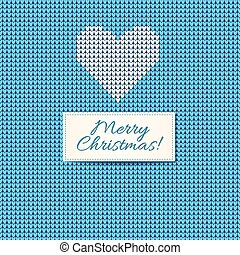 Merry Christmas Scandinavian style knitted card. White...