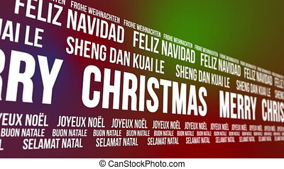 Scrolling banner that says Merry Christmas in different languages.