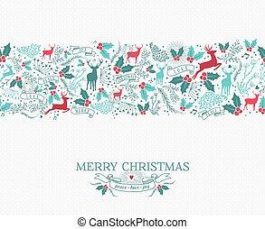Merry christmas seamless pattern reindeer holly
