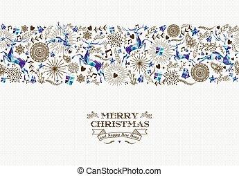 Merry christmas seamless pattern reindeer vintage - Merry...