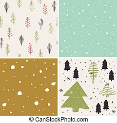 Merry christmas seamless pattern set background