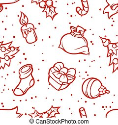 Merry Christmas seamless pattern with holiday symbols