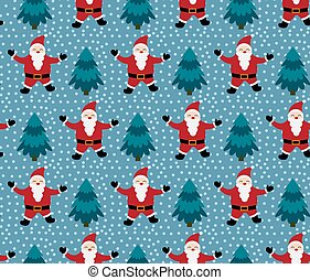 Merry Christmas seamless pattern with Santa Claus,in vector.