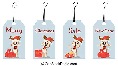 Merry Christmas. Set of hang tags with cute dog wearing Santa Claus hat and deer antlers