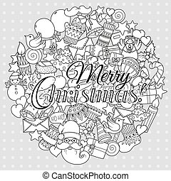 Merry christmas set of xmas monochrome pattern and text templates. Holiday greeting cards, coloring book page.