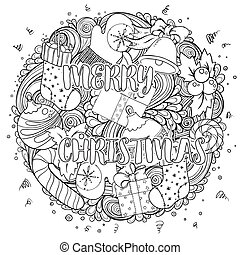 Merry christmas set of xmas monochrome pattern. Idea for holiday greeting cards, print, coloring book page.