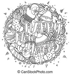 Merry christmas set of xmas monochrome pattern. Ideal for holiday greeting cards, print, coloring book page