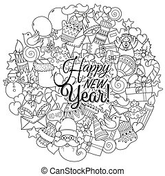 Merry christmas set of xmas monochrome pattern. Ideal for holiday greeting cards, print, coloring book page.