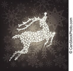 Merry Christmas shine deer. Vector silver background