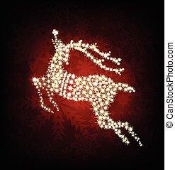 Merry Christmas shine deer. Vector illustration