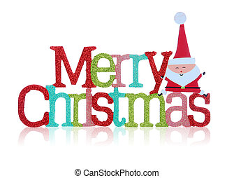 A colorful merry christmas sign over white background