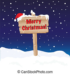 Merry Christmas sign night - A wooden sign wishing Merry ...