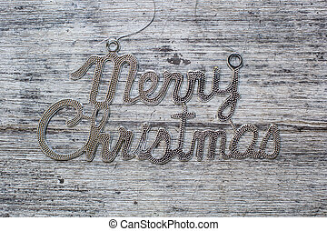 merry christmas sign on vintage wood background