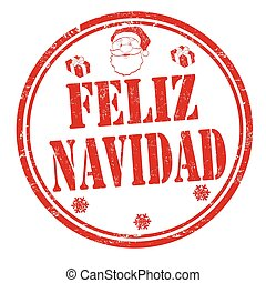 Merry Christmas sign or stamp on spanish language