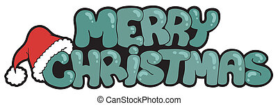 Merry Christmas sign with hat - vector illustration.